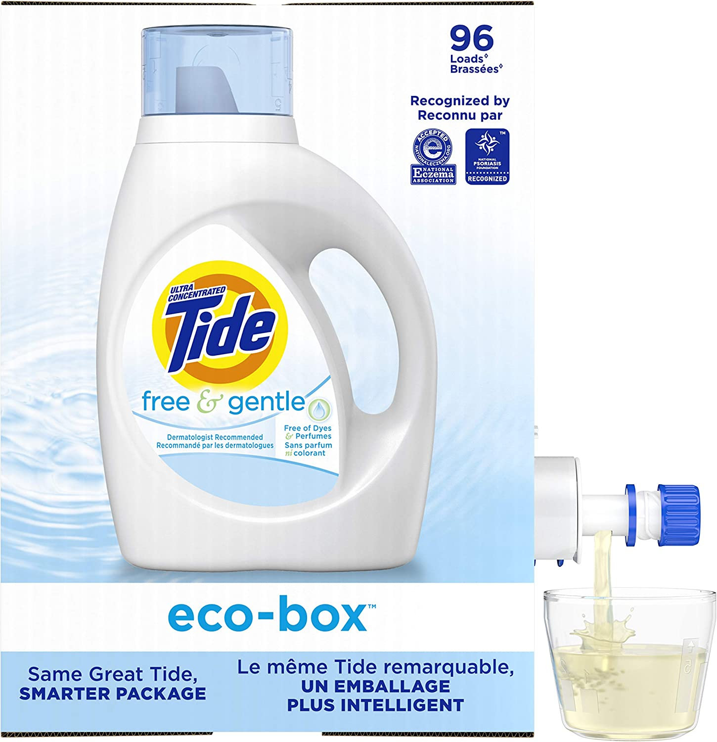 Tide Free & Gentle Liquid Laundry Detergent eco-box, HE Compatible, 105 fl oz, 96 loads