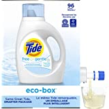 Tide Free and Gentle Ultra Concentrated Liquid Laundry Detergent eco-box, HE Compatible, 105 fl oz, 96 loads