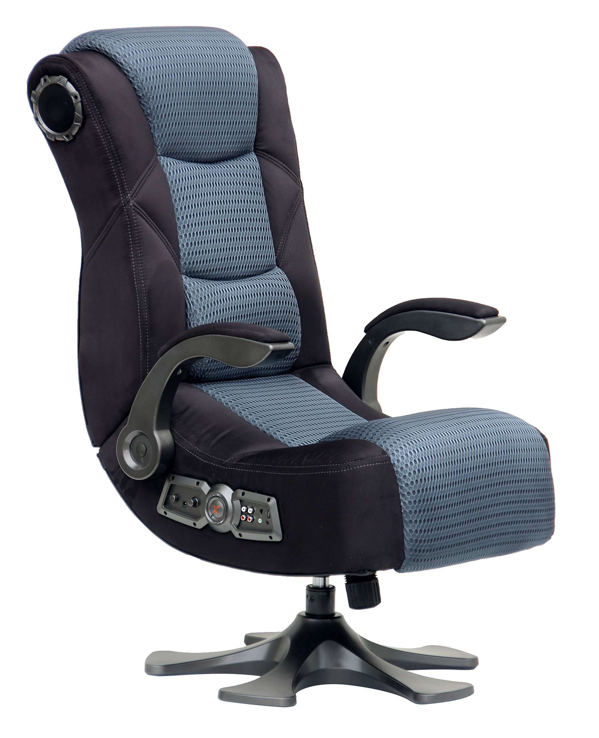X Rocker Deluxe Mesh 2.1 Sound Wireless Video Gaming Chair Pedestal Video Gaming Chair with Breathable Microfiber Mesh - Lumbar Support & Padded Armrests, 2 Speakers w/Subwoofer - Black/Gray, 5129501 by X Rocker