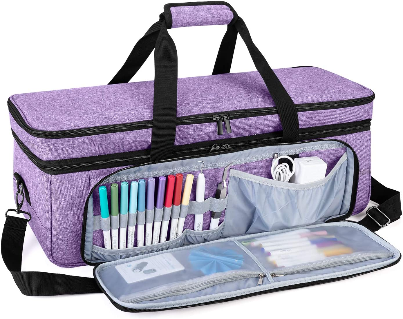 Luxja Double-Layer Carrying Case Compatible with Cricut Die-Cut Machine Black 2 Layers Bag Compatible with Cricut Explore Air Patent Pending and Maker Air 2