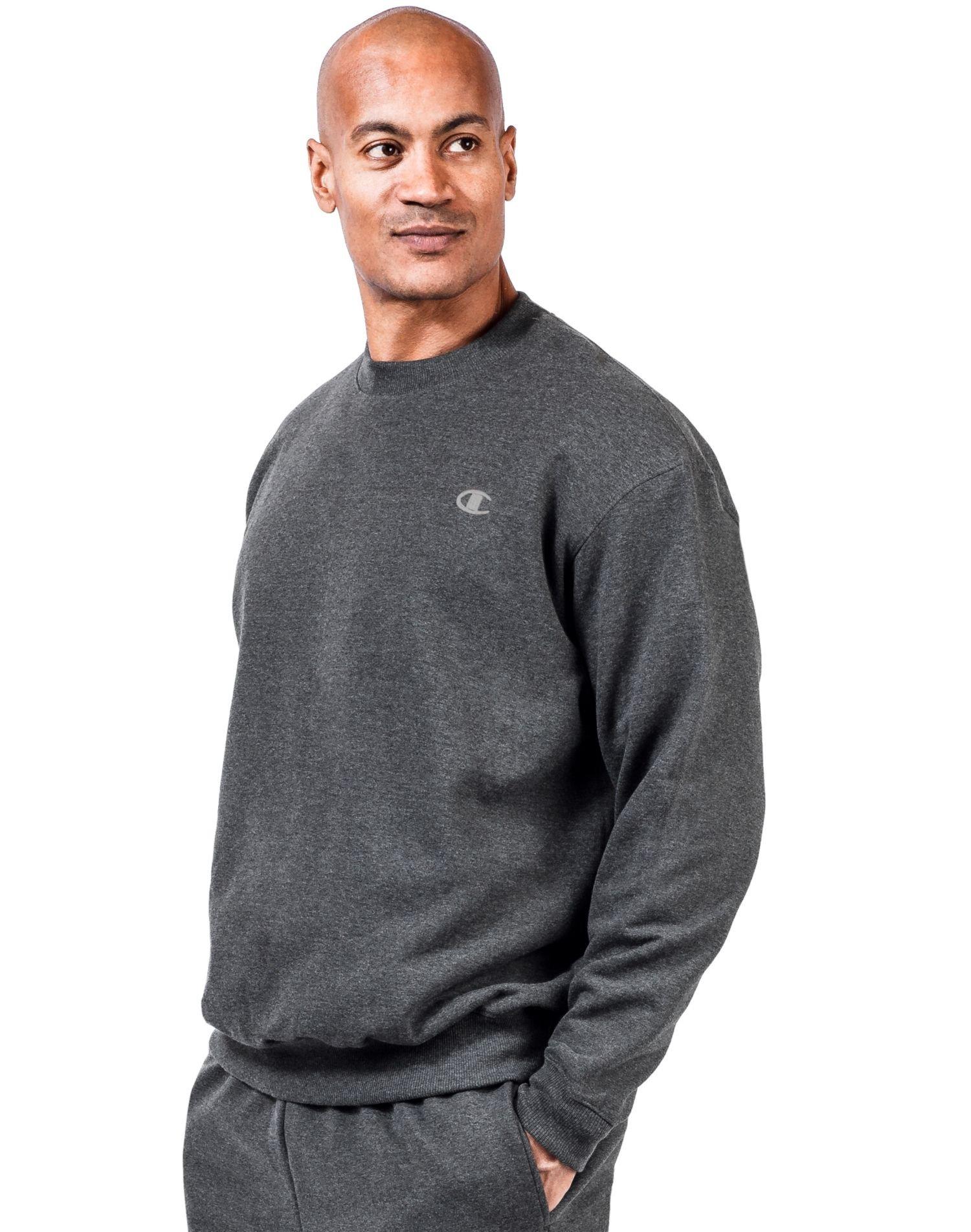 Champion Big Tall Men`s Fleece Sweatshirt, CH104, 2XLT, Granite Heather by Champion