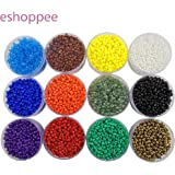 eshoppee 2mm Glass Seed Beads for Jewellery Making kit Art and Crafts Materials for Embroidery Necklace Bracelet Earring Making Materials DIY kit 12 Colours 20 Gm X 12
