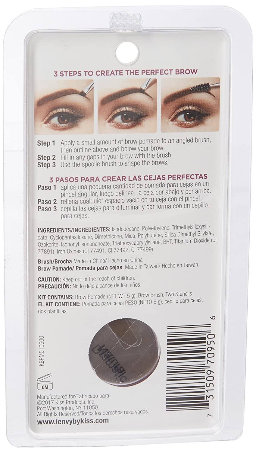 Amazon.com : I Envy by Kiss All-In-One Brow Pomade - KBPM02 Chocolate : Beauty
