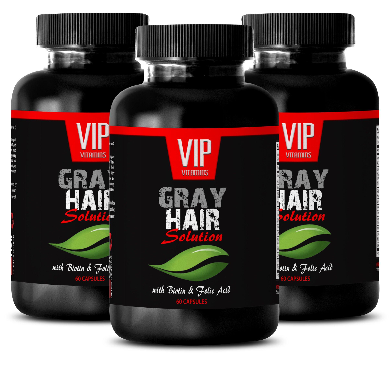 Biotin 300 mg - Gray Hair Solution - Anti gray hair pills (3 Bottles 180 capsules)