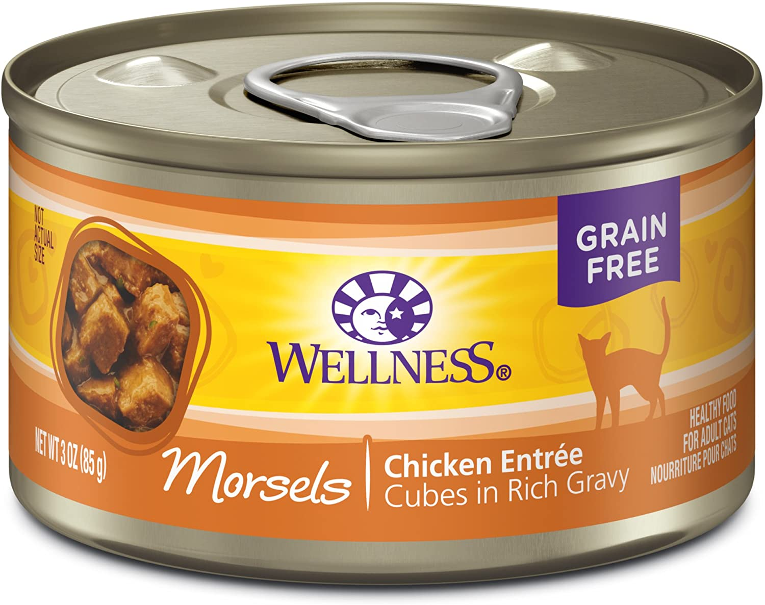 Wellness Complete Health Natural Grain Free Wet Canned Cat Food, Cubed Chicken Entree, 3-Ounce Can (Pack of 24)