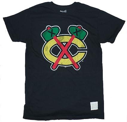 fc7085efffd Chicago Blackhawks Retro Brand Distressed Black Tomahawks T-shirt Small