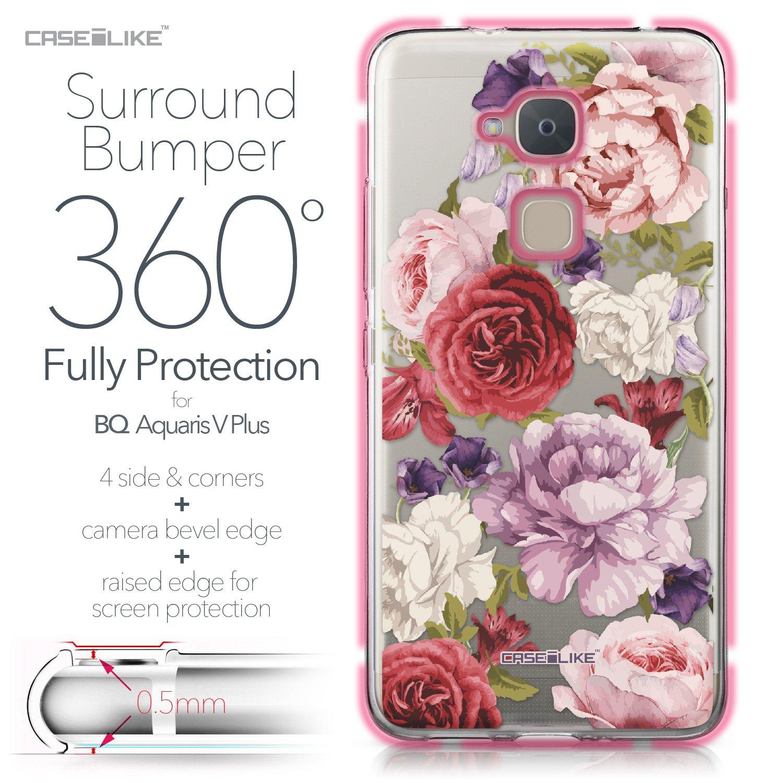 CASEiLIKE® Funda BQ V Plus, Carcasa BQ Aquaris V Plus, Rosas mezcladas 2259, TPU Gel Silicone Protectora Cover