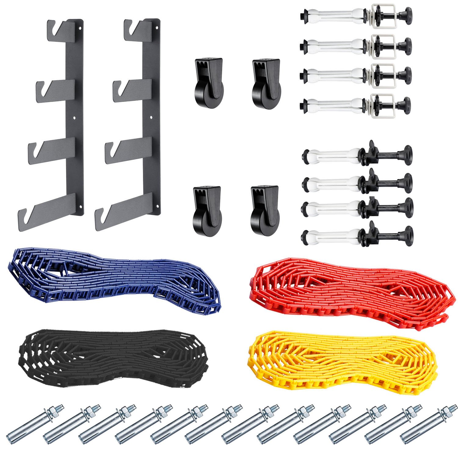 Neewer Photography 4 Roller Wall Mounting Manual Background Support System, including Two(2) Four-fold hooks, Six(6) Expand bars, Four(4) Chains, Ten(10)Clamp Screws by Neewer