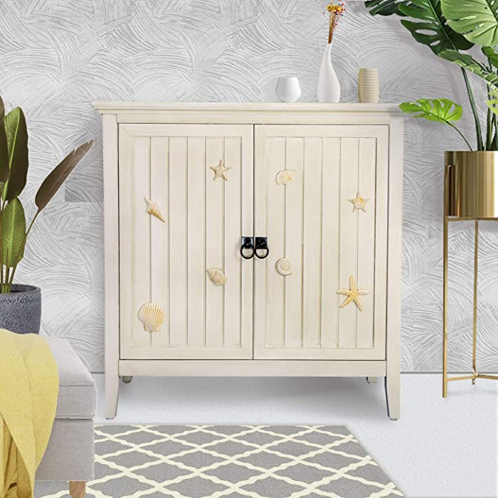 RANDEFURN Coastal Bathroom Cabinet, Storage Cabinet with Doors and Shelves, 32 x 14 x 31.5 inches Handmade Accent Pantry Cabinet Adjustable Shelves, Shoe Cabinet, White