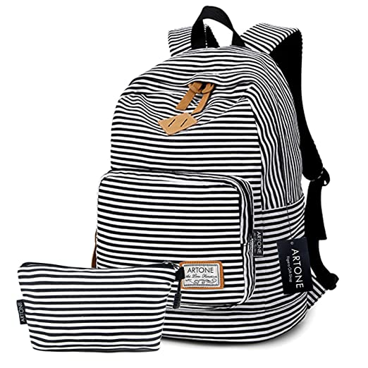 "Artone Stripe Big Capacity Casual Backpack 14"" Laptop School Daypack With Pencil Case Set Of"