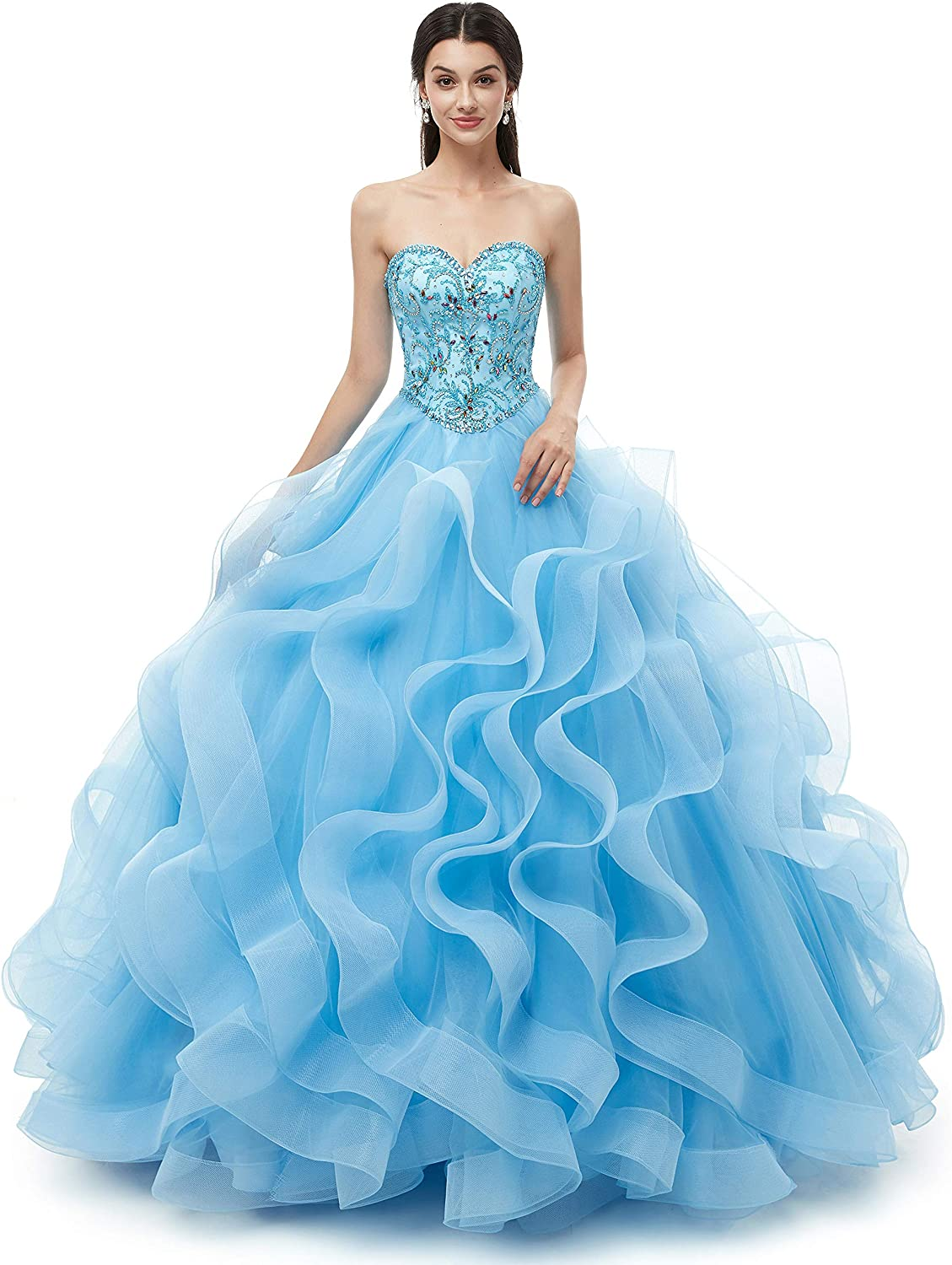 Likedpage Womens Sweetheart Ball Gown Tulle Quinceanera Dresses Prom Dress