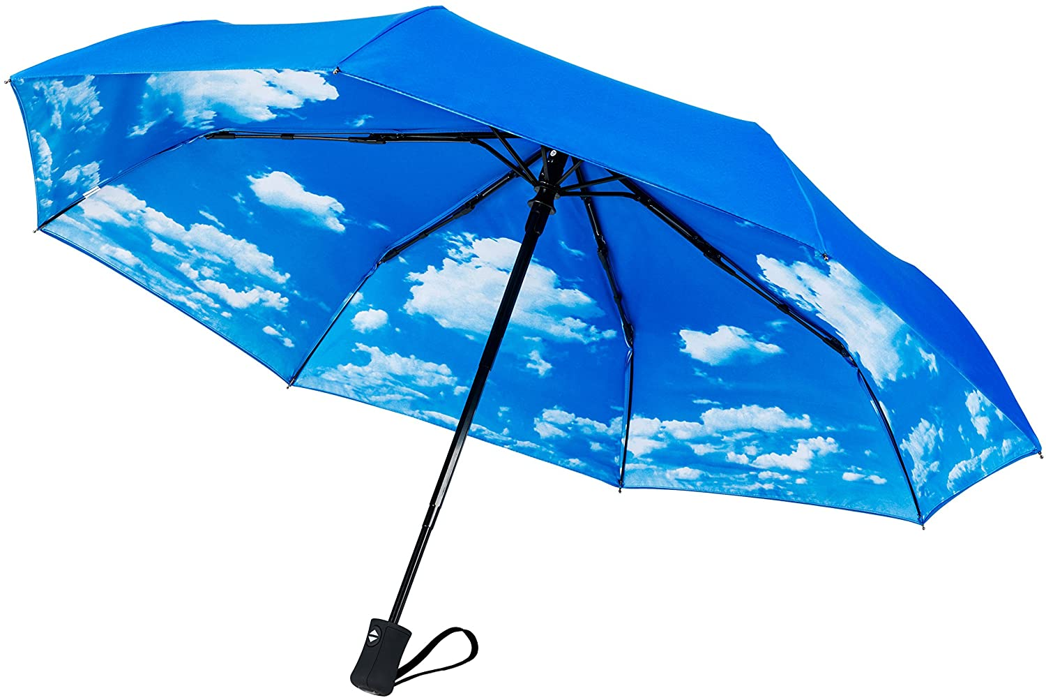 Crown Coast Windproof Umbrella Up To 95 kmph - Compact, Automatic Open / Close Travel Umbrellas All Come With A Lifetime Replacement Guarantee (Black)