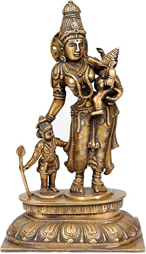 Goddess Parvati with Her Sons Ganesha and Karttikeya – Brass Statue