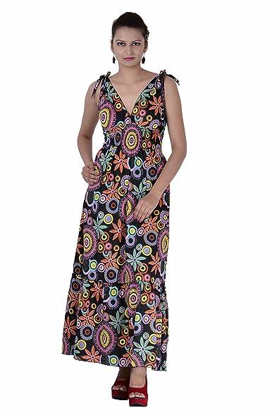 Indi Bargain Long Cotton Knotted Maxi Cum Evening Dress At Amazon