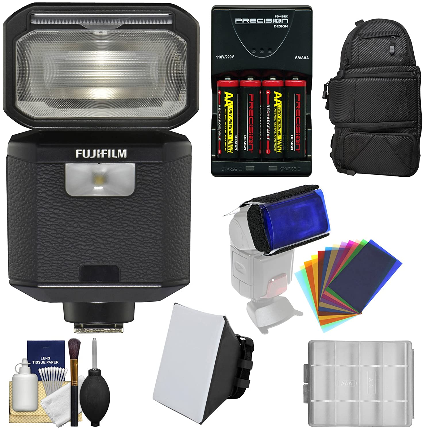 Fujifilm EF-X500 Shoe Mount Flash & LED Video Light with Backpack + Soft Box + 12 Color Gel Filters + Batteries & Charger Kit