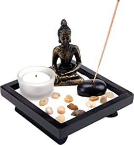 MyGift Mini Zen Rock Garden with Buddha Statue, Incense and Tealight Candle Holder