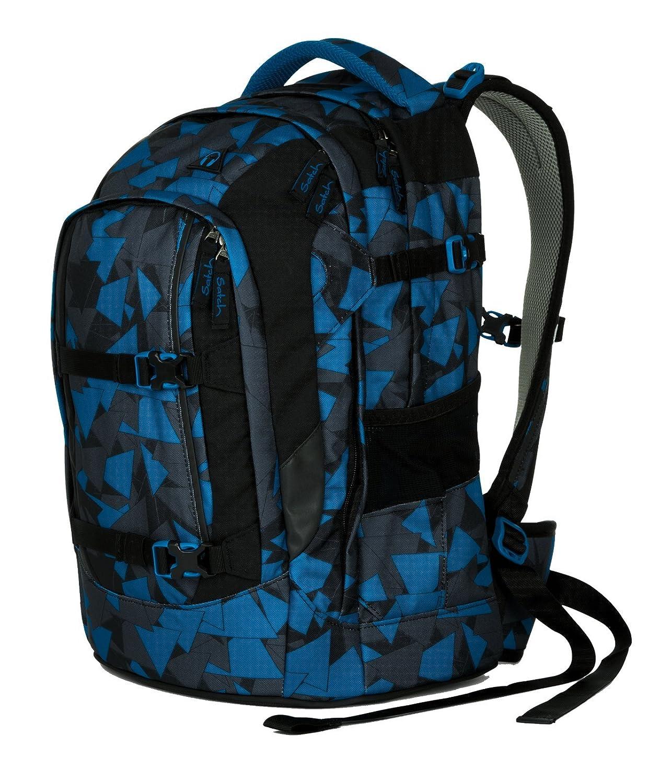 1651f43a6eb7f Satch Pack by Ergobag - 3 tlg. Set Schulrucksack - Blue Triangle   Amazon.de  Koffer