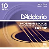 D'Addario EJ26 Phosphor Bronze Acoustic Guitar Strings, Custom Light (10 Pack) – Corrosion-Resistant Phosphor Bronze, Offers a Warm, Bright and Well-Balanced Acoustic Tone and Comfortable Playability