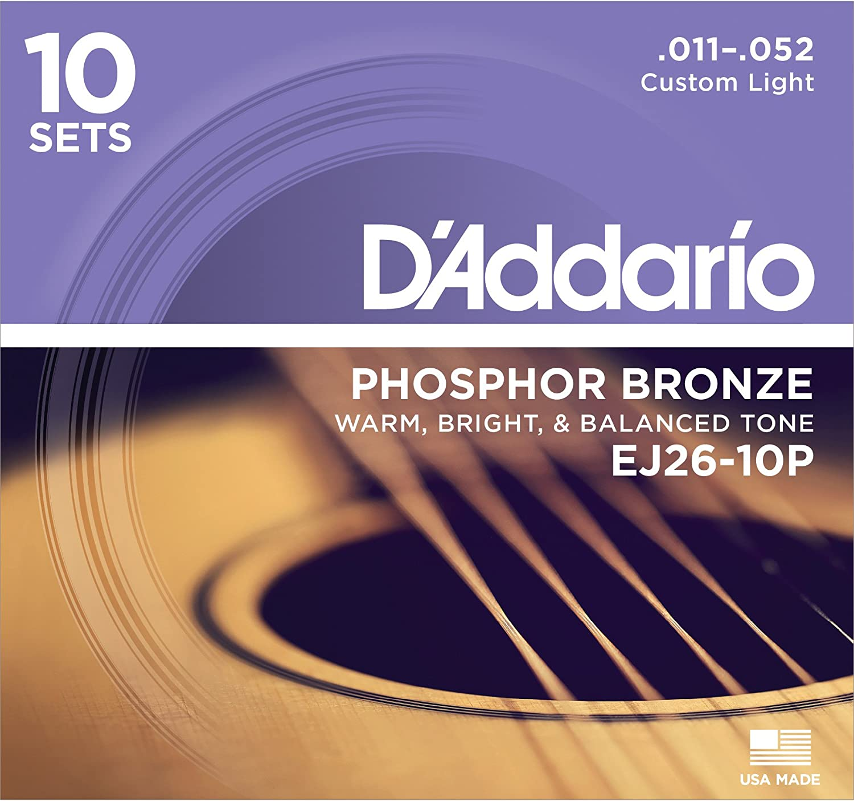 D'Addario EJ26-10P Phosphor Bronze Acoustic Guitar Strings, Custom Light, 11-52, Pack of 10 D'Addario