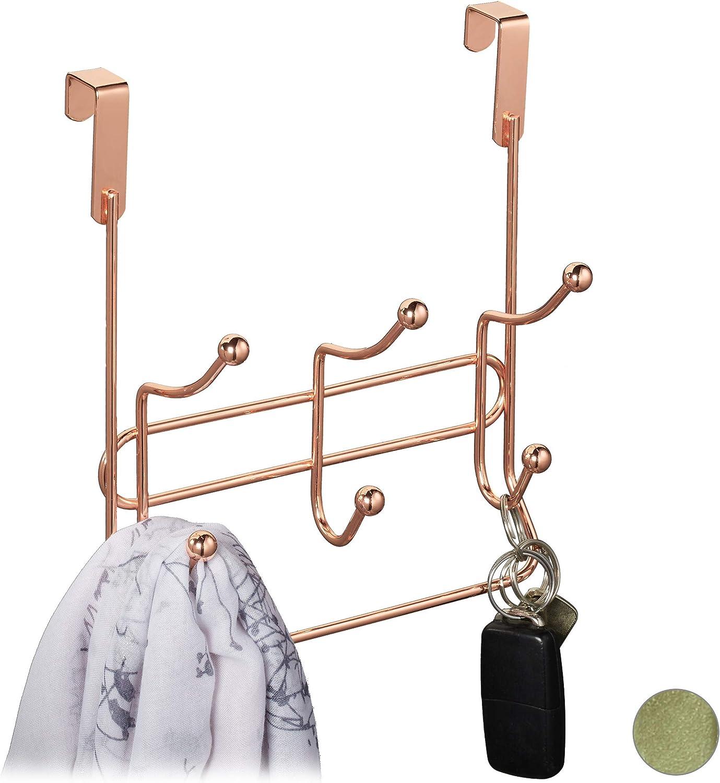 Metall Relaxdays T/ürgarderobe mit 3 Doppelhaken Gold edle T/ürhakenleiste zum Einh/ängen HBT: 23,5 x 20,5 x 9,5 cm