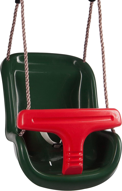 Ultrakidz Asiento de columpio Basic para bebé con estribo de protección y cinturón, columpio para bebés, Verde/Rojo