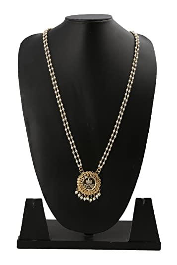 Buy radhas creations traditional small pearl lakshmi pendant radhas creations traditional small pearl lakshmi pendant necklace length 30 inches one gram gold plated for aloadofball Image collections