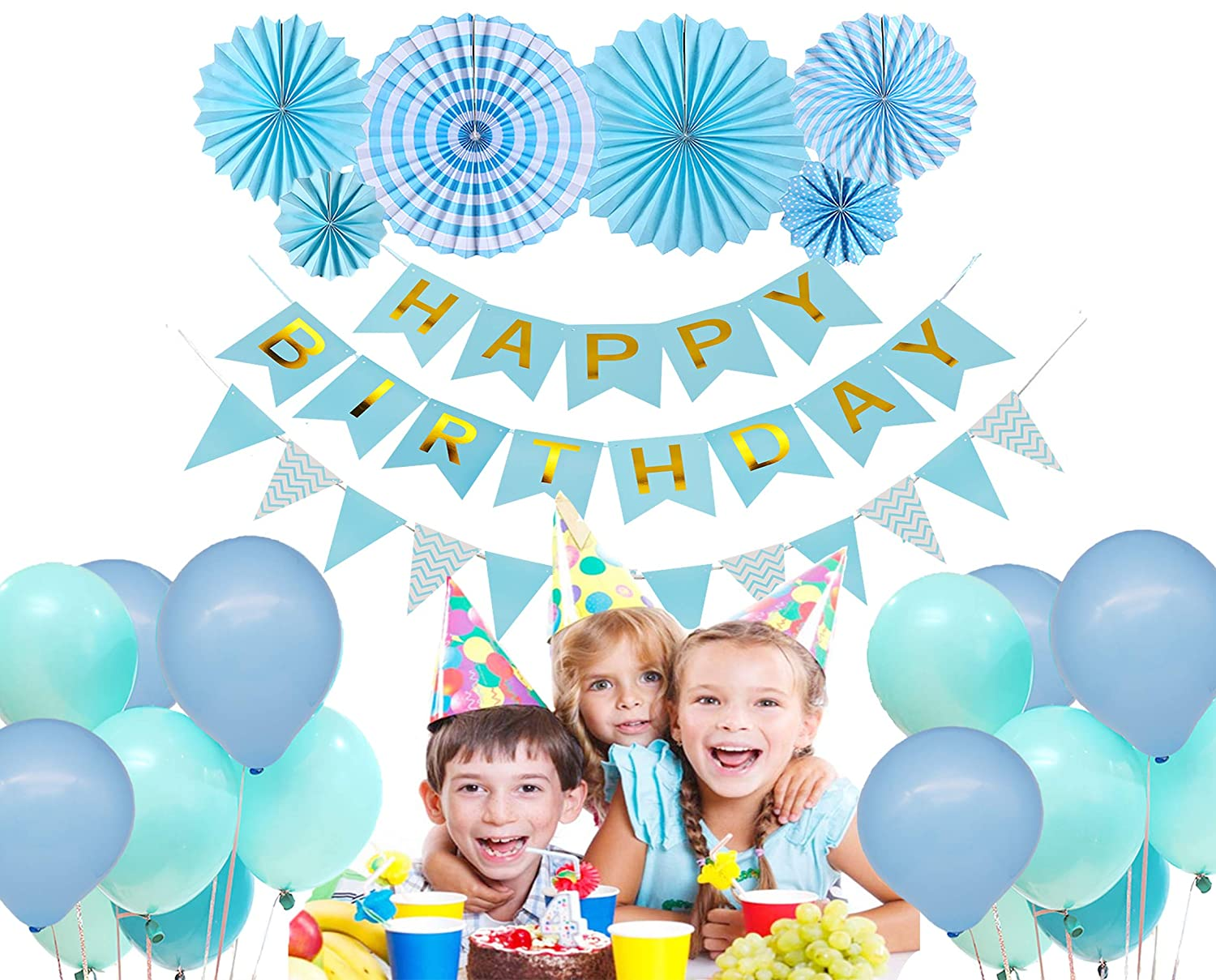 Vinet Birthday Decoration Party Supplies Blue Happy Birthday Banner 6 Blue Paper Flowers Blue Triangle Bunting Flags 16 Blue Balloons