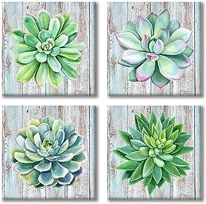Paimuni Succulents Canvas Wall Art Watercolor Hand-Drawn Green Leaf Plants Printings Ready to Hang Wall Decor Botanical Giclee Prints 12x12inchesx4pcs