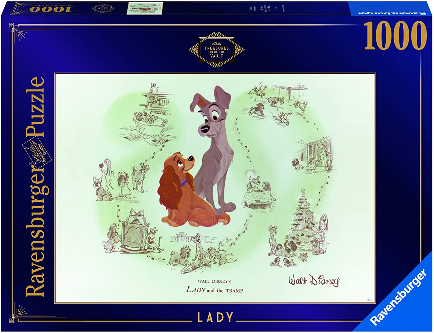 Ravensburger Disney Treasures from The Vault: Lady 1000 Piece Jigsaw Puzzle for Adults – Every Piece is Unique, Softclick Technology Means Pieces Fit Together Perfectly - Amazon Exclusive