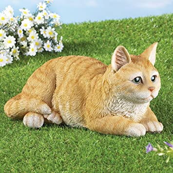 Pretty Tabby Cat Garden Statue