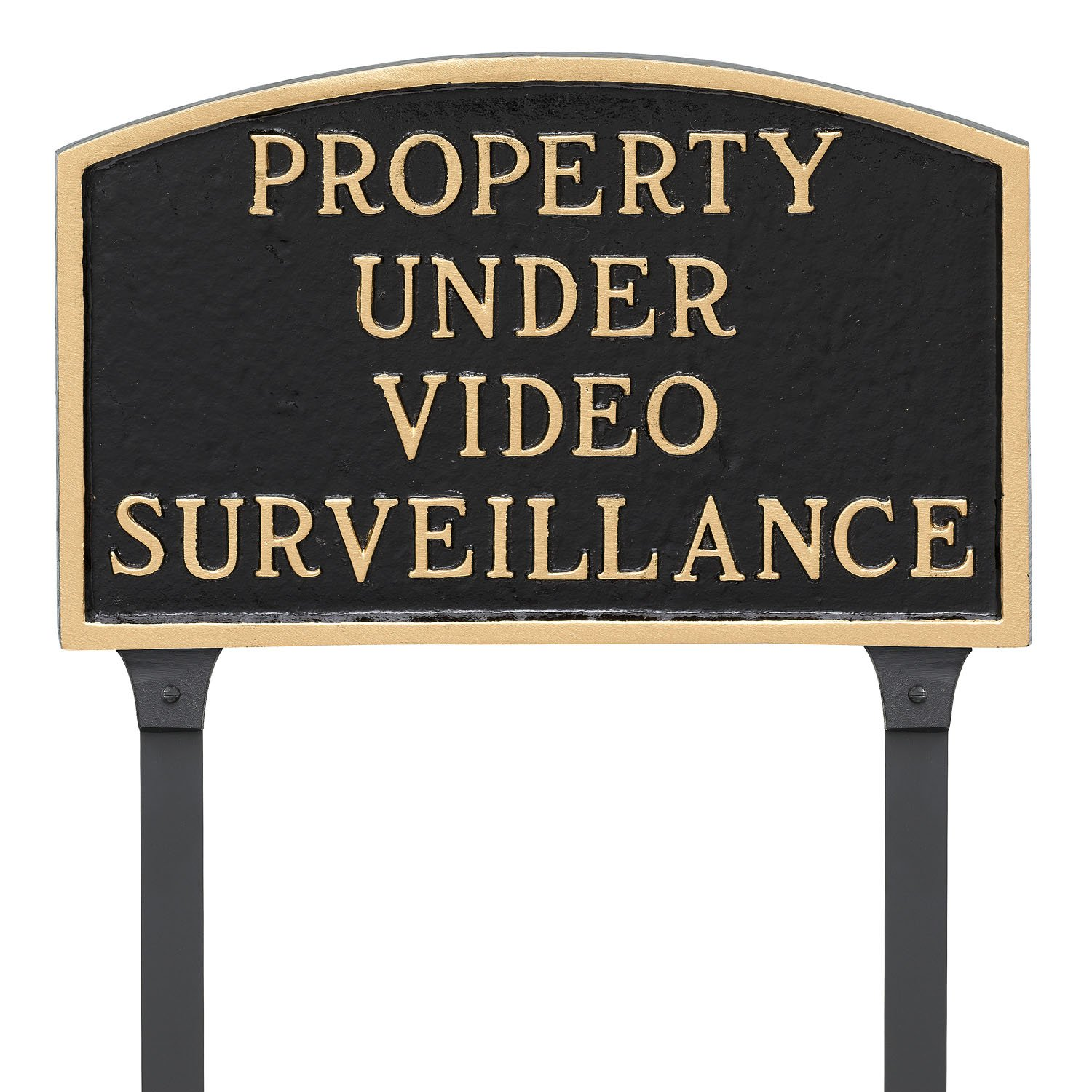 Montague Metal Products 13'' x 21'' Property Under Video Surveillance Statement Plaque & 23'' Stake, Black/Gold