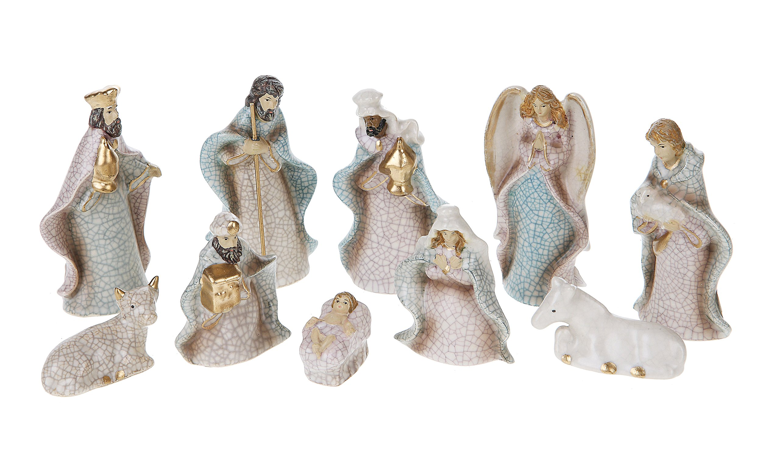 Creative Co-Op XC2796 Silent Night Set of Ten 4'' H Stoneware Crackled Nativity