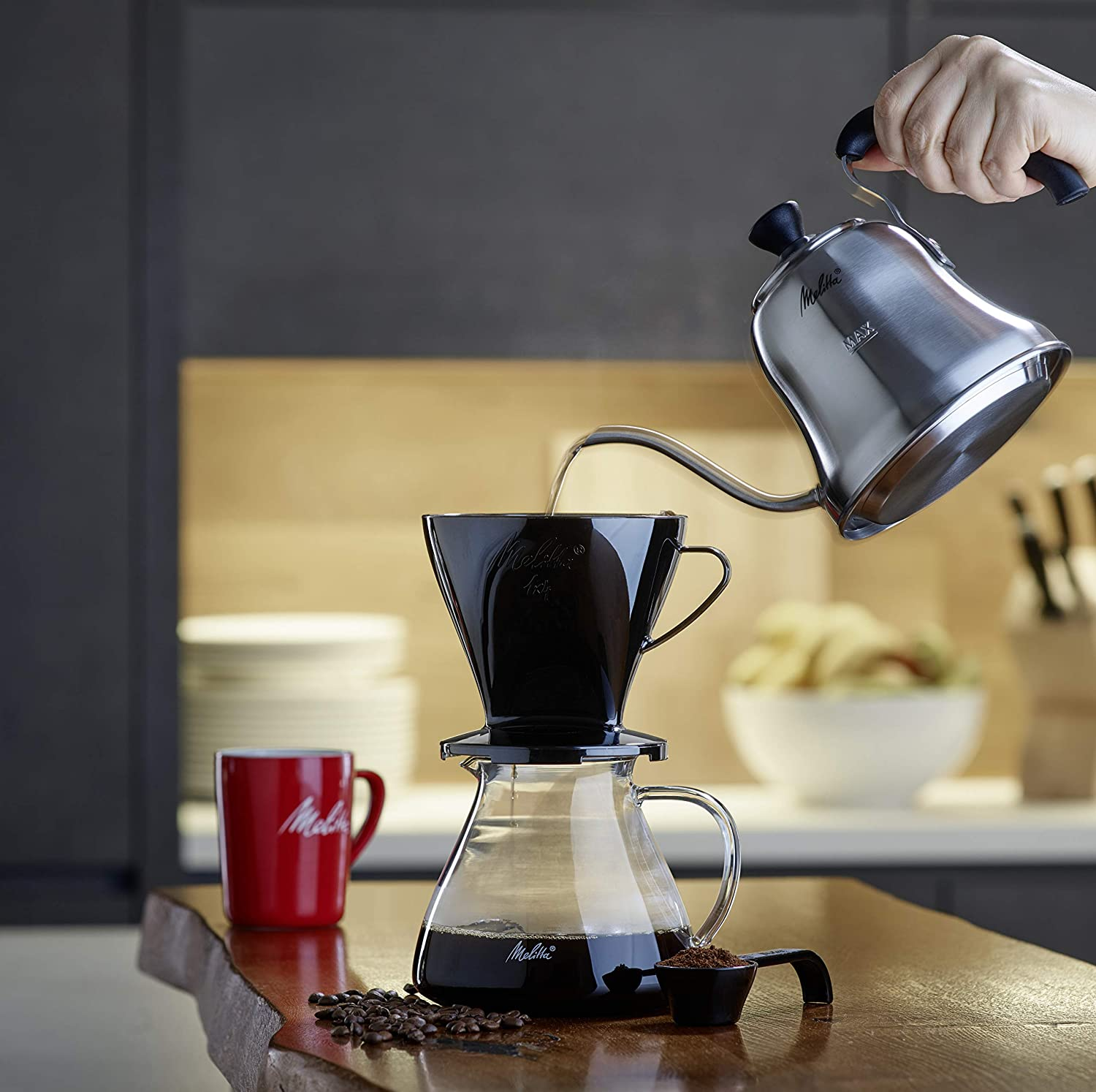 Melitta Gooseneck Kettle, Compatible with All Types of Cookers, Insulated Handle, 0.7 L, Pour Over, Stainless Steel