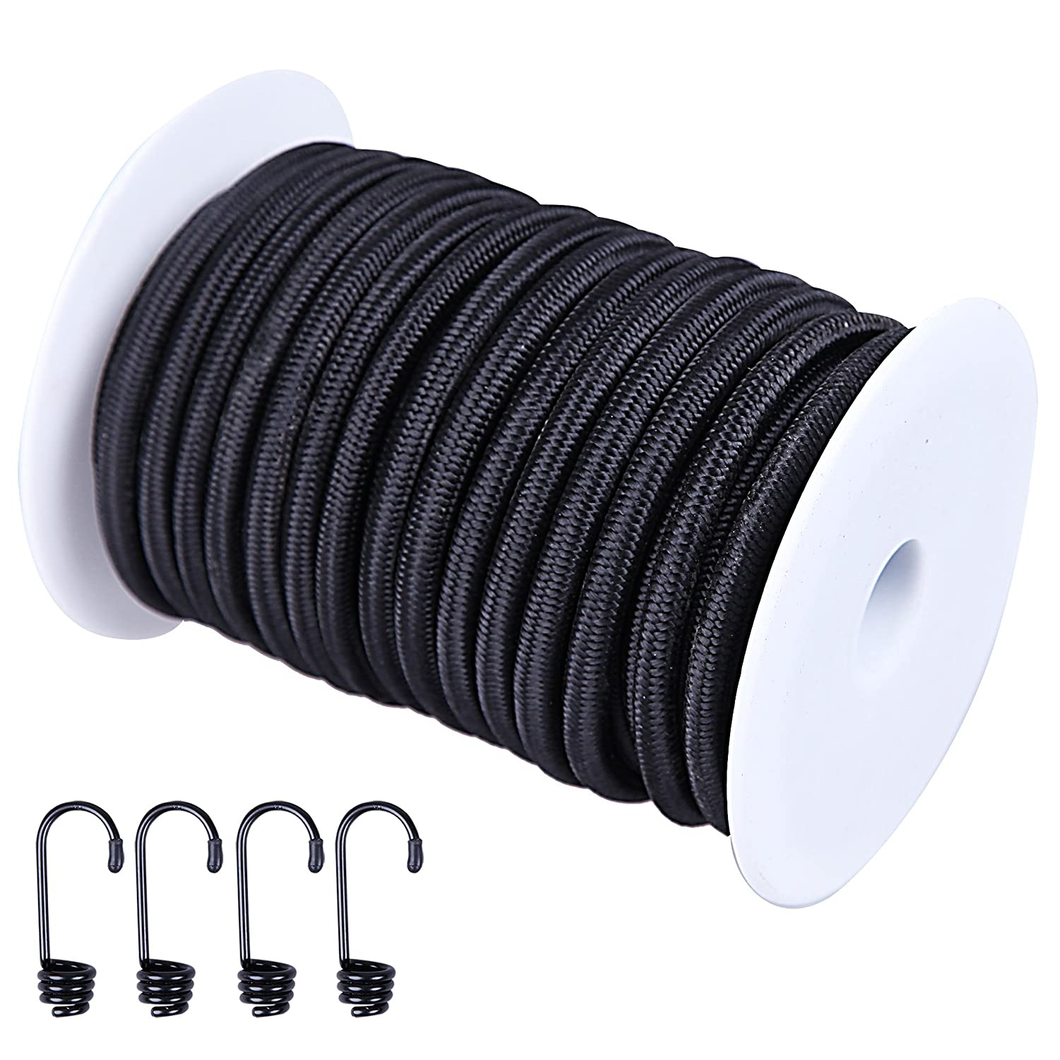 CARTMAN 1//4 Elastic Cord Crafting Stretch String with 4 More Hooks 40kg x 50ft Black Color