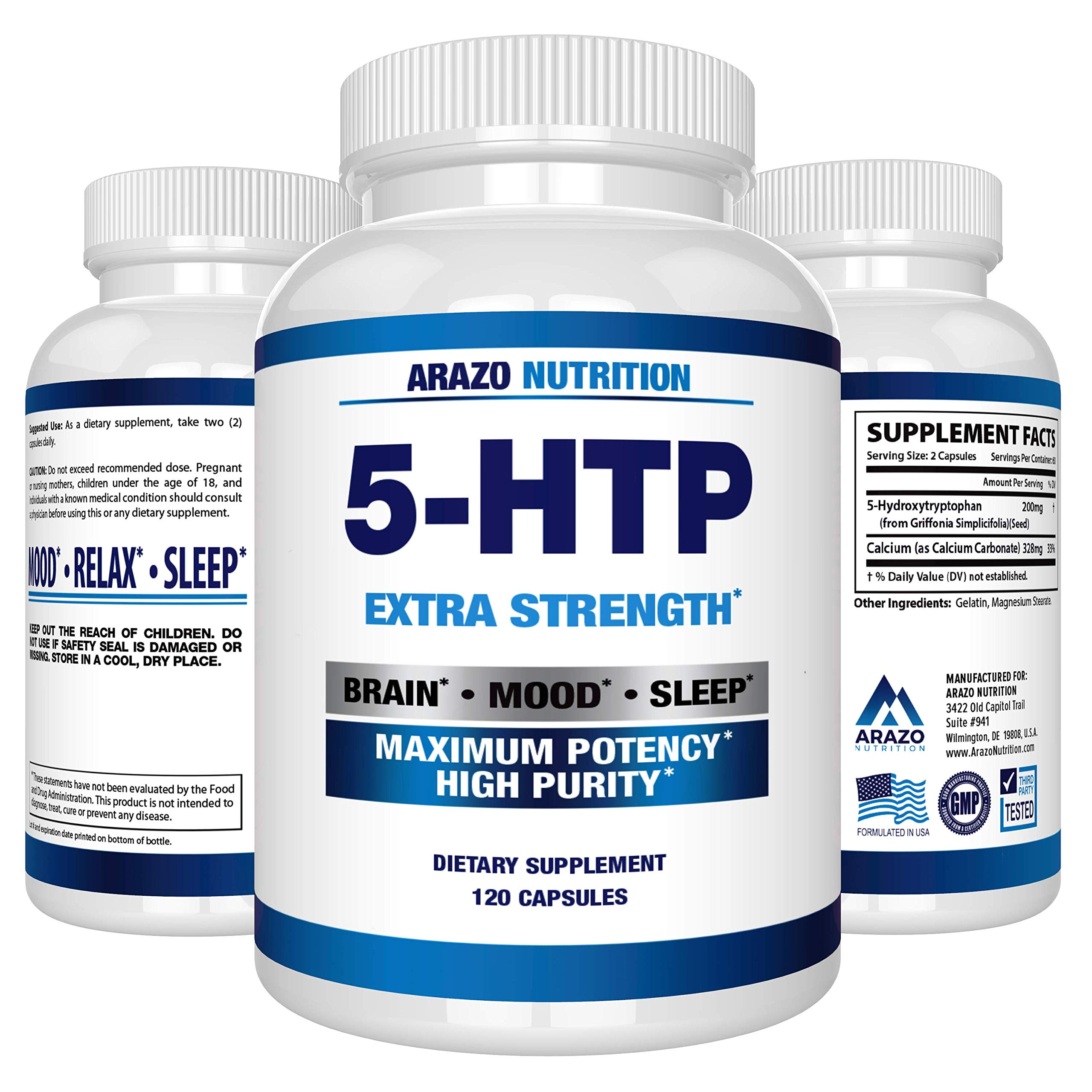 5-HTP 200 mg Supplement - 120 Capsules - Arazo Nutrition by Arazo Nutrition (Image #1)