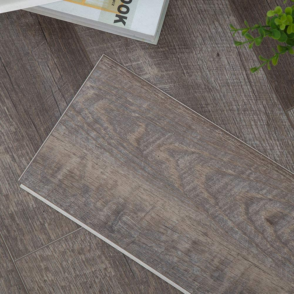 Diflart Classical Oak 23.6 sq.ft Vinyl Plank Flooring Click Locking 48x7 inch Lvt Flooring Waterproof Foam Back Rigid SPC Core Wood Grain Finish