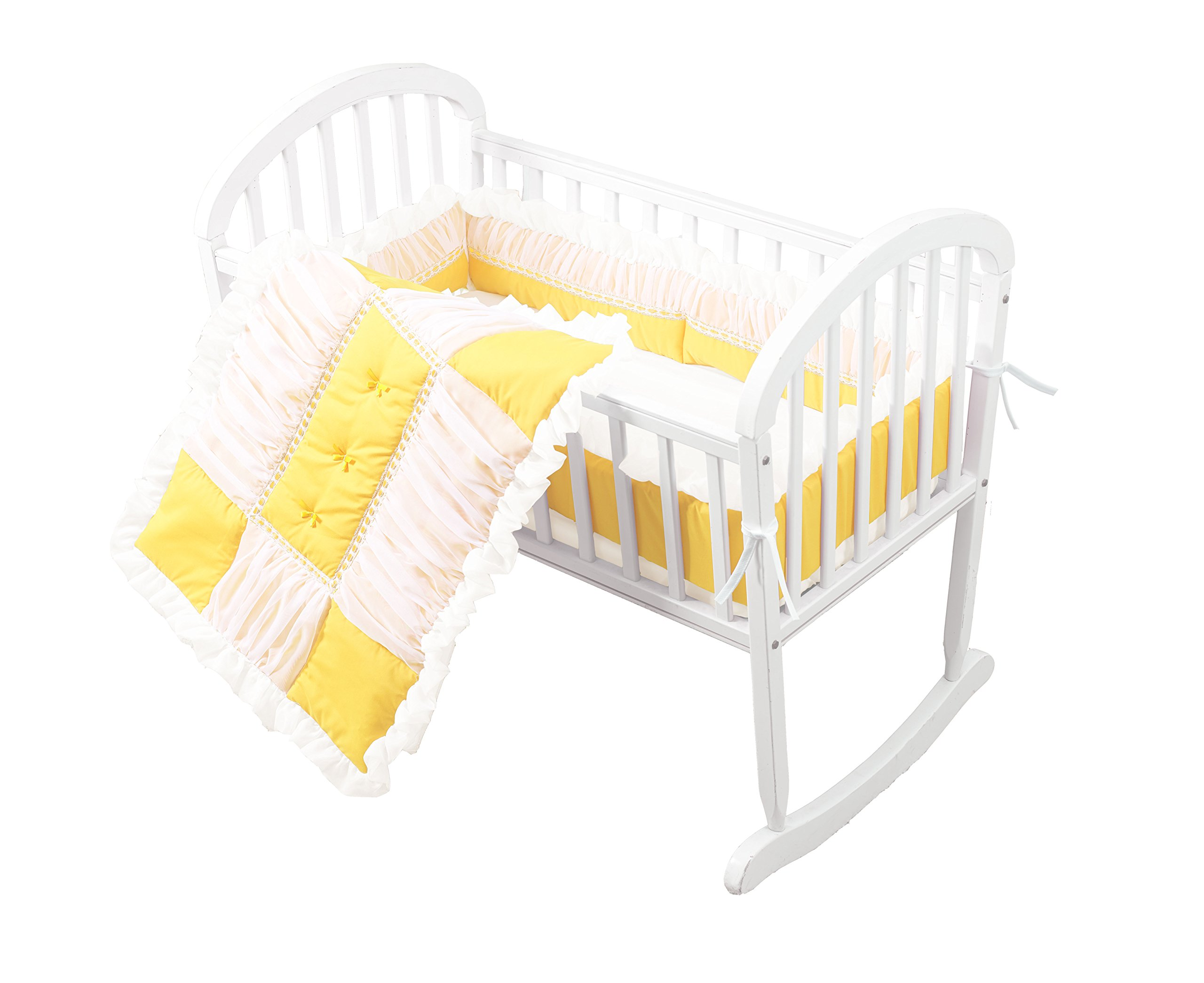 Baby Doll Sweet Touch Baby 3 Piece Cradle Bedding Set, Yellow