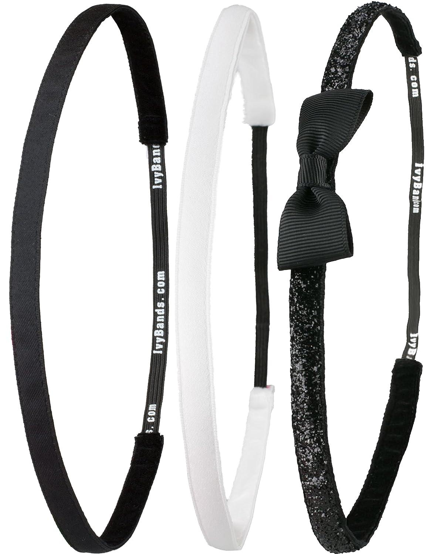 Ivybands ®   Das Anti-Rutsch Haarband   3-er Pack   Schwarz Super Thin Haarband, Weißes Super Thin Haarband, Schwarz Glitzer Schleifenhaarband, (1 cm Breite)   IVY003 IVY507 IVY317 IVYBANDS® IVY003507317
