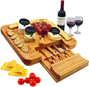 Bamboo Cheese Board & Cutlery Set with Slide-Out Drawer, 4 Stainless Steel Knife, Wood Platter & Serving Tray. Includes 3 Label & Chalk, Perfect for Birthday, Engagement, Housewarming & Wedding Gifts