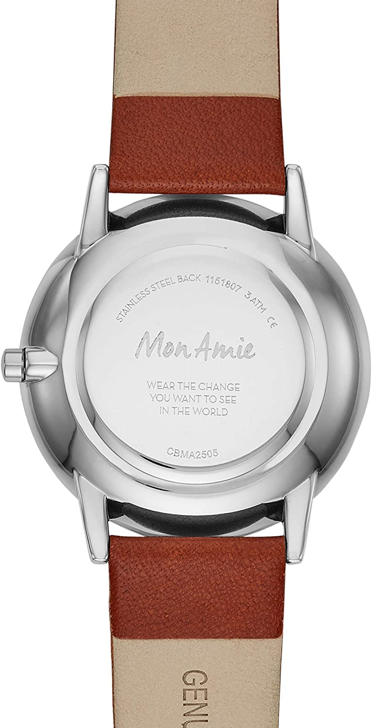 Mon Amie Women s Supports Education Quartz Leather Strap, Brown, 18 Casual Watch Model CBMA2505