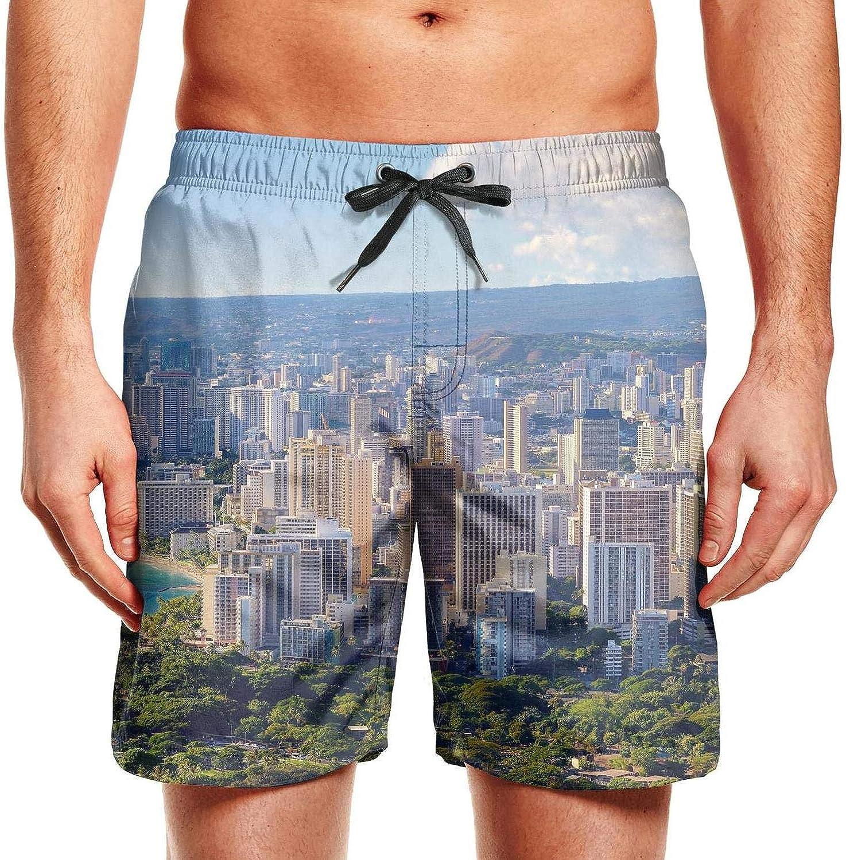 Eaksjd Mens Honolulu Oahu Hawaii Adjustable Waistline Skate Trunks Stretch Beach Wear Shorts
