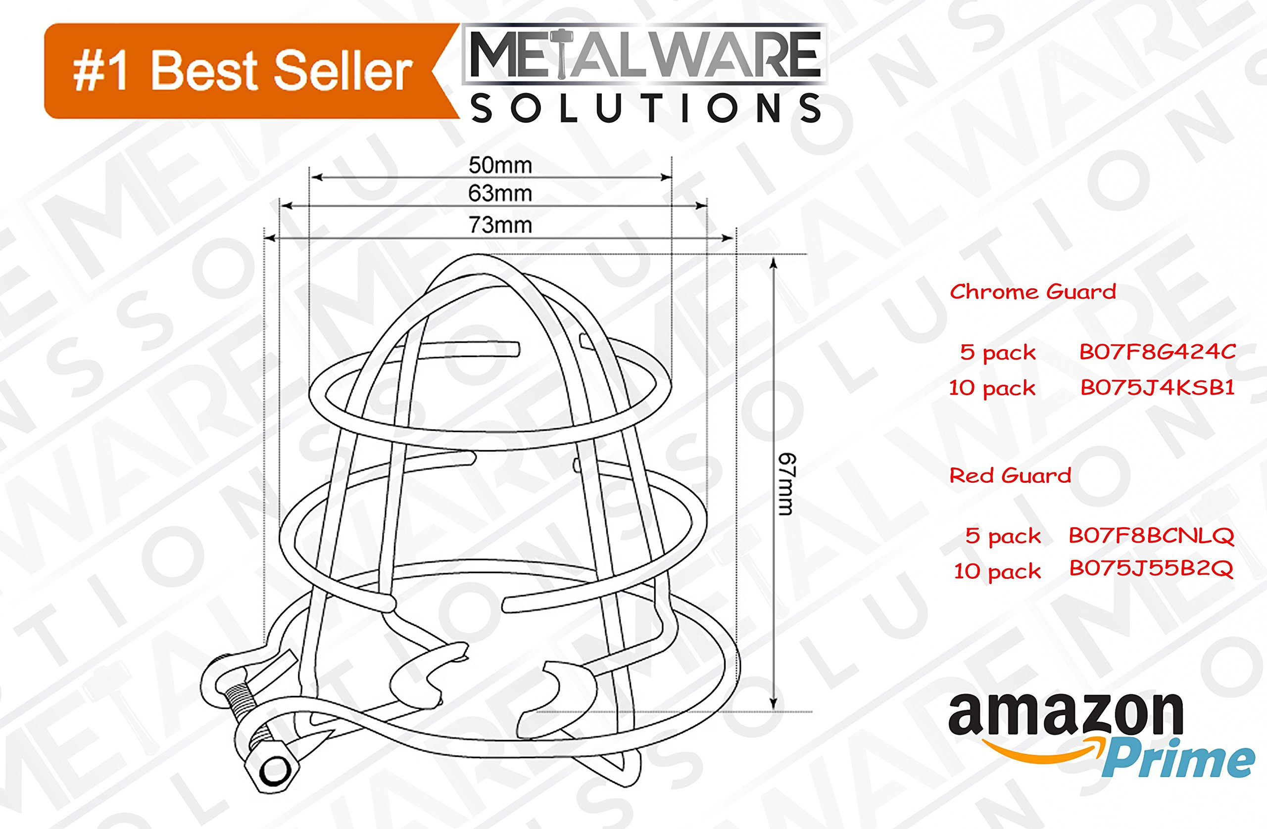 5 Pack - Metalware Solutions Red Fire Sprinkler Head Guard with Easy Screw Cover for 1/2'' IPS Head by Metalware Solutions (Image #5)