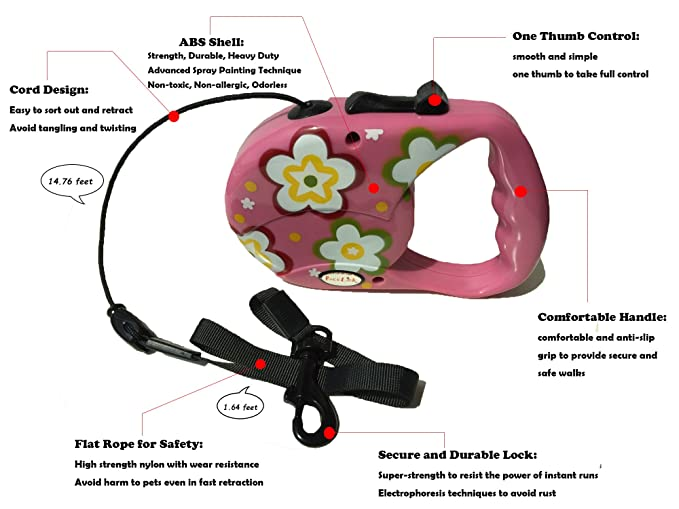 Reelok Pink Beautiful Flower Patterns Automatic Retractable Durable Heavy Duty High Quality Super Strength Dog Pet Cord Leash Safe Walk 16 feet 5 M