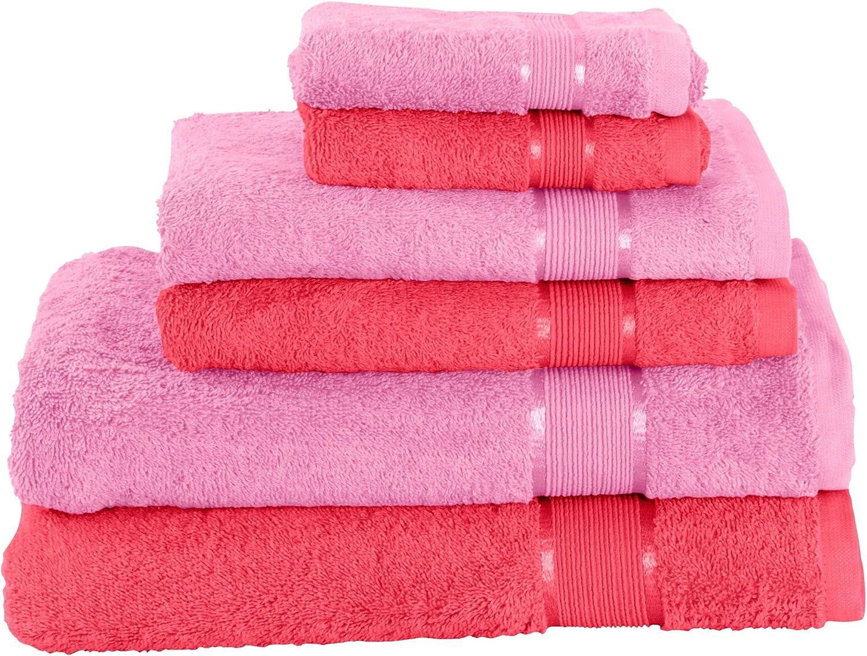 Handtuchset 2X Badetuch 2X Handtuch 2X G/ästetuch Velen 100/% Baumwolle Farbe:Pink Mixibaby 6 TLG
