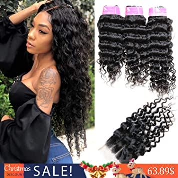 Amazon Com Onlyou Unprocessed Virgin Brazilian Deep Wave Bundles