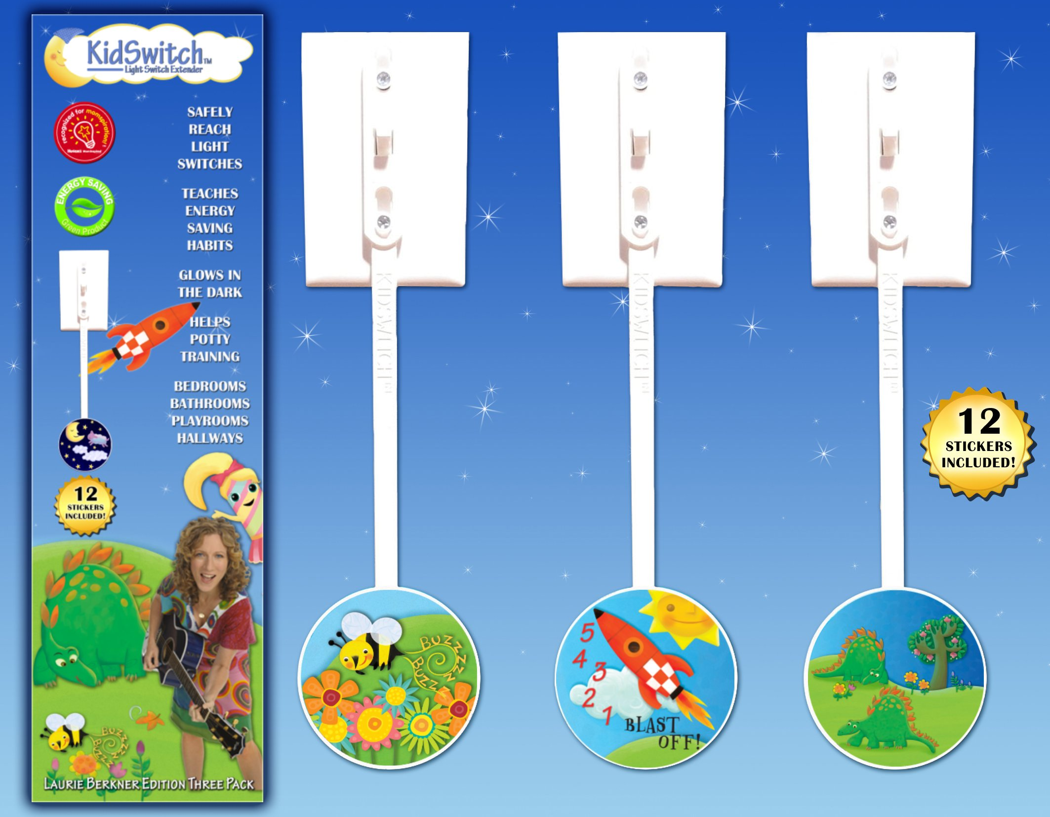 KidSwitch Lightswitch Extension for Toddlers - Laurie Berkner Edition - 3 Count - Includes 12 Themed Art Decals - Multi…