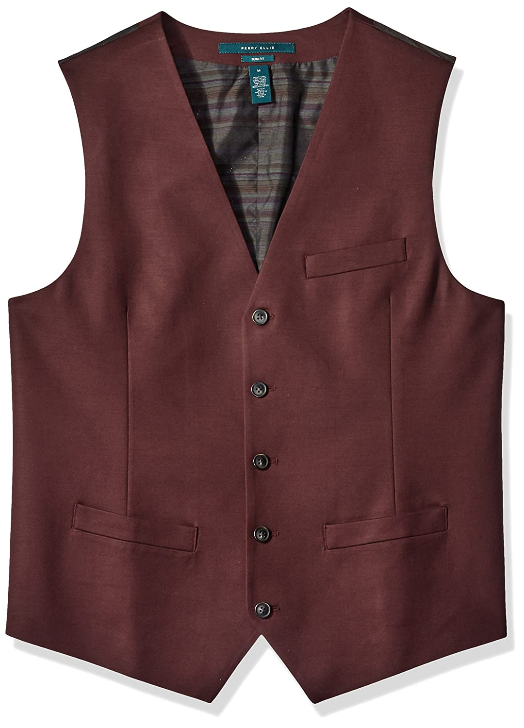 Perry Ellis Men's Big and Tall Slim Fit, Stretch Solid Sateen Suit Vest 4BHV4403