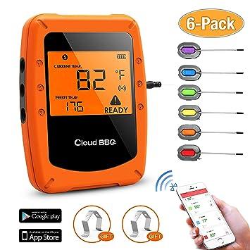Wireless BBQ Termómetro,Barbacoa Termómetro Bluetooth con 6 Sondas, Diseño magnético de Pantalla LCD