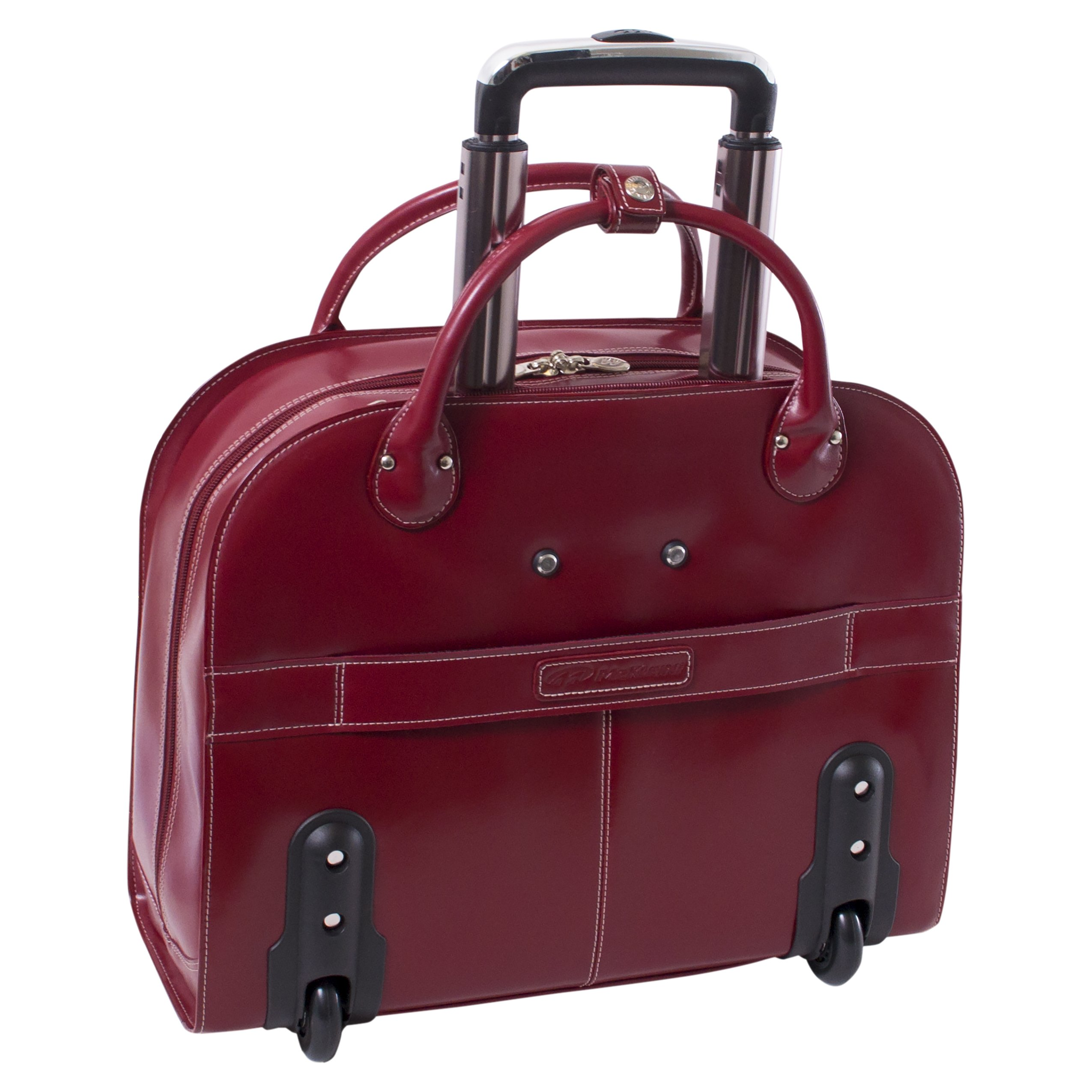 McKleinUSA Edgebrook [Personalized Initials Embossing] 15.4'' Leather Wheeled Ladies' Laptop Briefcase in Red by McKlein (Image #5)