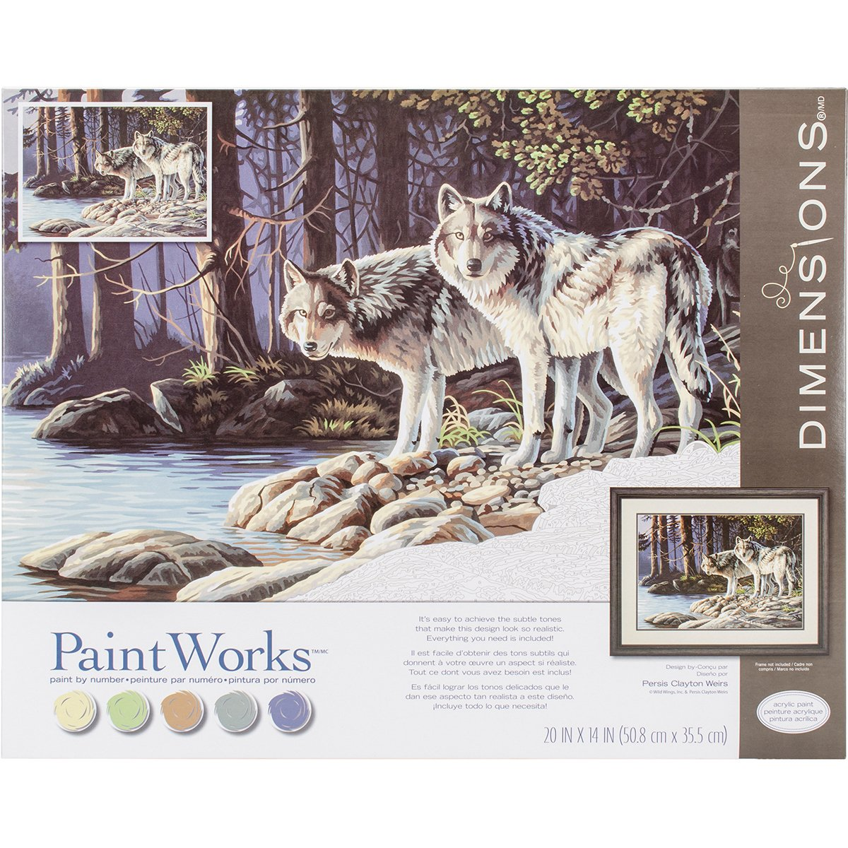 Amazon.com: Paintworks Paint By Number Kit 20 x 14 in. Gray Wolves ...
